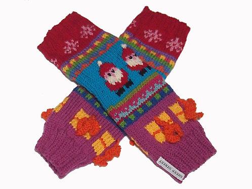 Ladies Purple/Red Fingerless Gloves
