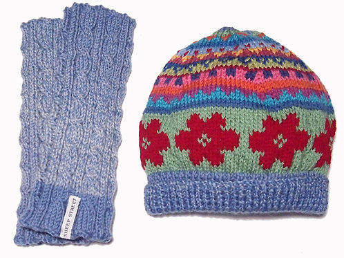 Light Blue Marle Beanie and Glove Set