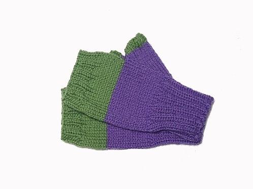 Purple and Green Short Fingerless Gloves