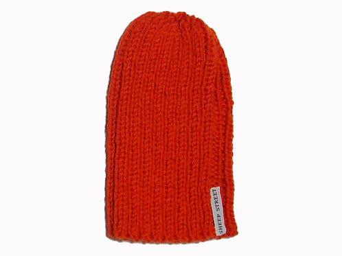 Dark Orange Ribbed Beanie