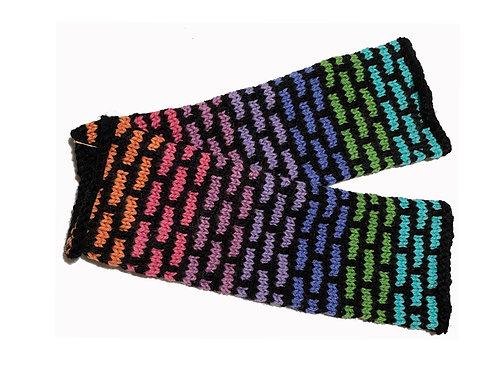 Black and Neon Mosiac Fingerless Gloves