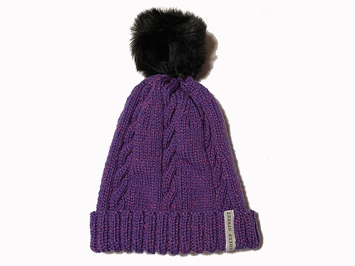 Purple Cabled Beanie