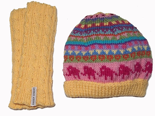 Yellow Beanie and Glove Set