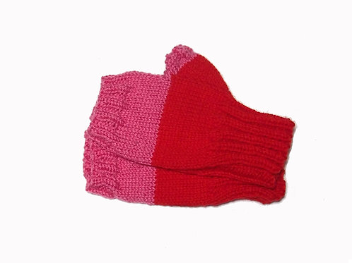 Red and Pink Short Fingerless Gloves