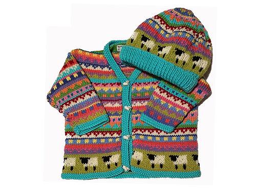 Size 6-12 Months - Aqua Band Cardigan