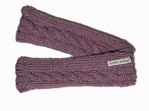 Grape Cabled Fingerless Gloves
