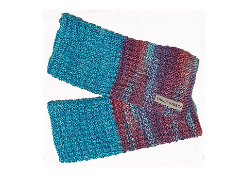 Aqua, Pink and Purple Two Toned Fingerless Gloves