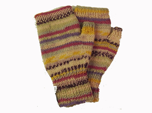 Pink, Purple and Yellow Fingerless Gloves
