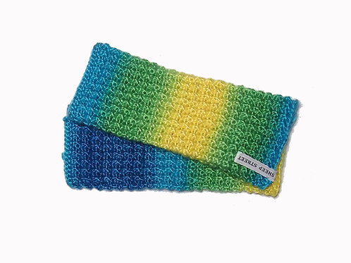 Blue, Aqua, Green and Yellow Variegated Fingerless Gloves