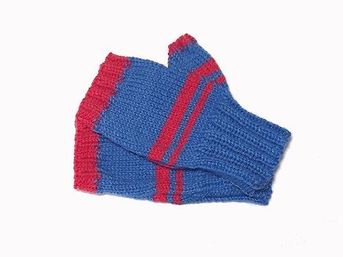 Blue and Pink Short Fingerless Gloves