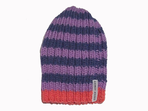 Purple/Lilac/Coral Ribbed Beanie
