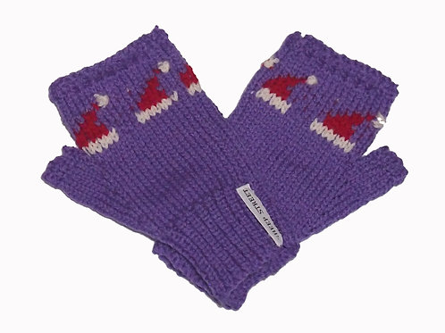 Ladies Purple Fingerless MItts