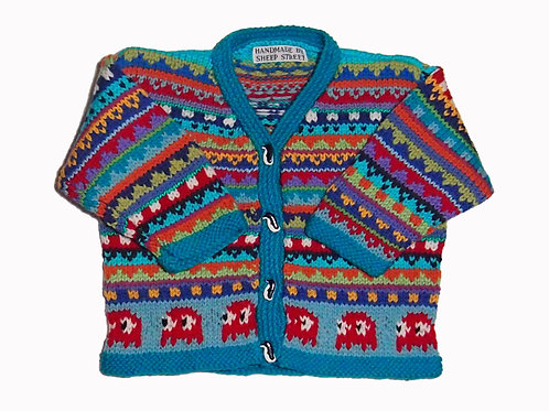 Size 6-12 Months - Teal Band Cardigan