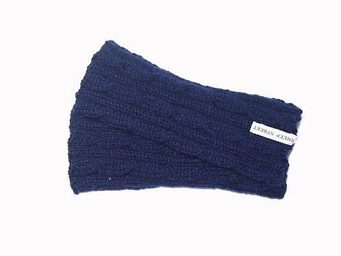 Navy Cabled Fingerless Gloves