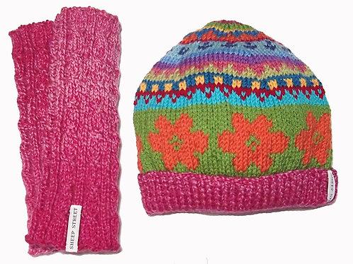 Pink Marle Beanie and Glove Set