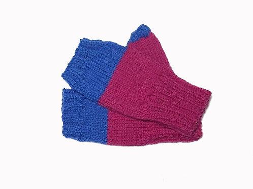 Pink and Blue Short Fingerless Gloves
