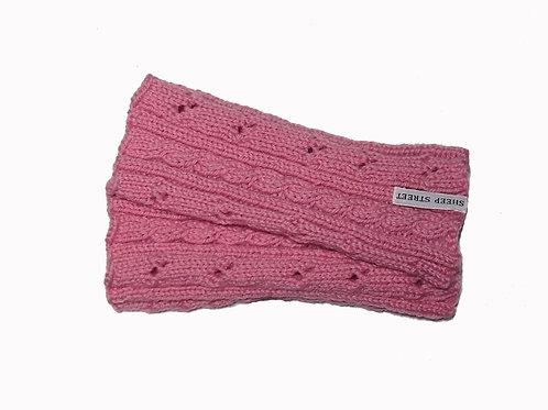 Light Pink Cabled Fingerless Gloves