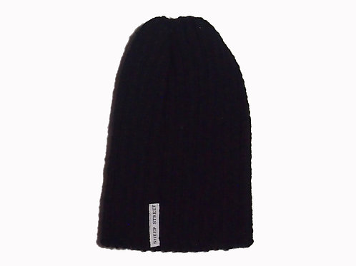 Black Ribbed Cap