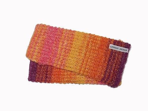 Pink, Yellow, Orange and Purple Variegated Fingerless Gloves