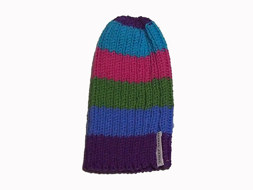 Purple, Blue, Green and Pink Ribbed Beanie