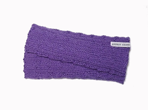 Purple Cabled Fingerless Gloves
