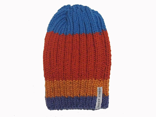 Blue/Burnt Orange/Butterscotch Ribbed Beanie