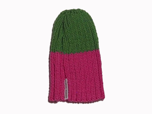 Pink and Green Ribbed Beanie