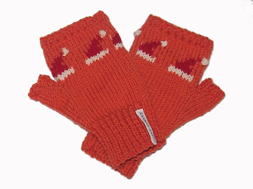 Ladies Orange Fingerless MItts