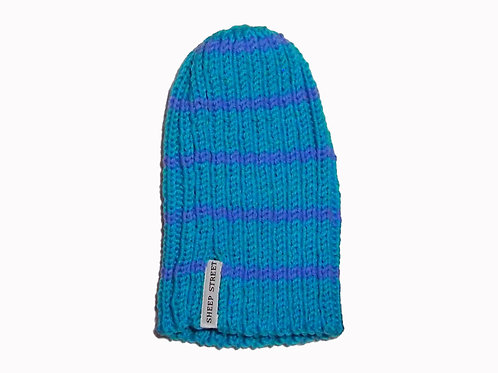 Aqua and Purple Ribbed Beanie