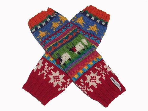 Ladies Red/Orange Fingerless Gloves