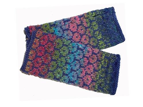 Blue Floral Fingerless Gloves