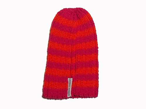 Orange and Pink Ribbed Beanie