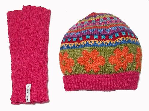 Hot Pink Beanie and Glove Set