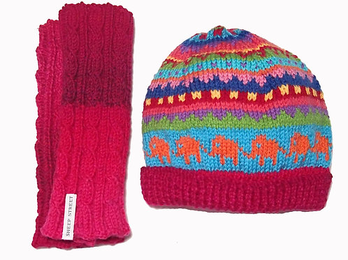 Hot Pink Marle Beanie and Glove Set
