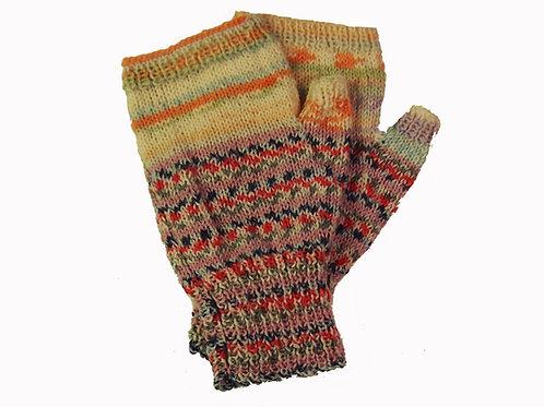 "Red, Blue & Pastel ""Ugly"" Fingerless Gloves"