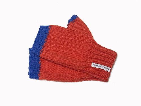 Orange and Blue Short Fingerless Gloves