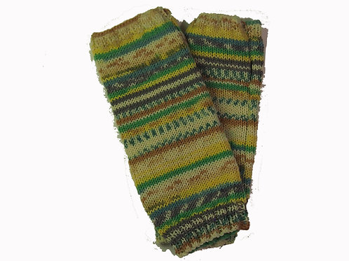 Green, Yellow and Bone Fingerless Gloves