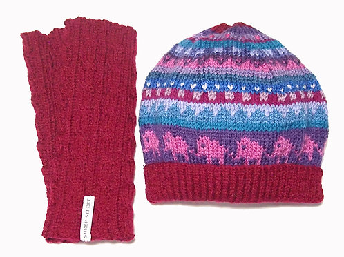 Maroon Beanie and Glove Set
