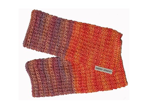 Orange, Pink and Purple Two Toned Fingerless Gloves