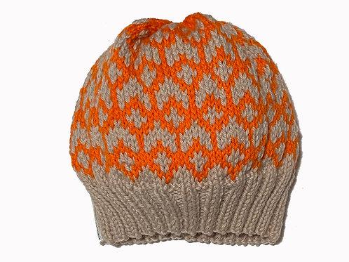 Bone/Orange Slouch Cap