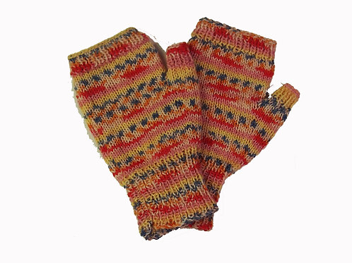 Pink, Blue and Yellow Fingerless Gloves
