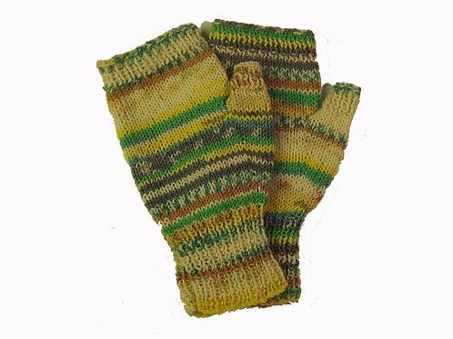 Green, Yellow and Bone Fingerless Gloves