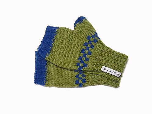 Green and Blue Short Fingerless Gloves
