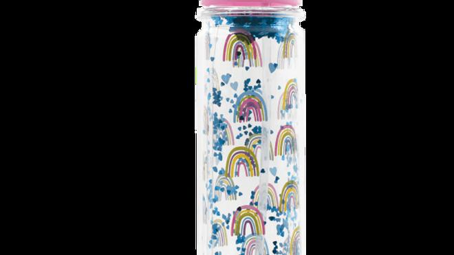 Rainbow & hearts water bottle