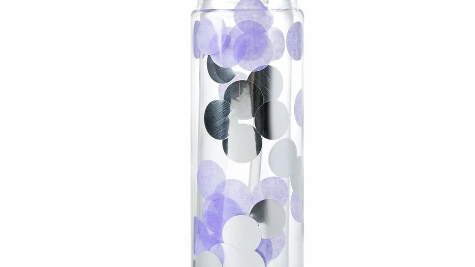 Purple/silver confetti water bottle