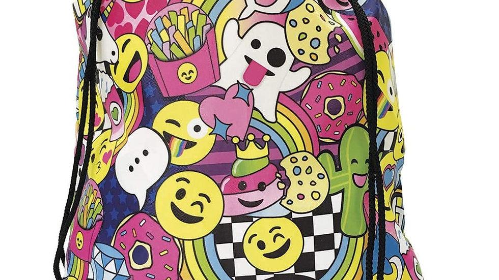 Emoji graphite drawstring bag