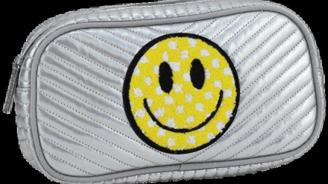 Checkered smiley face cosmetic bag