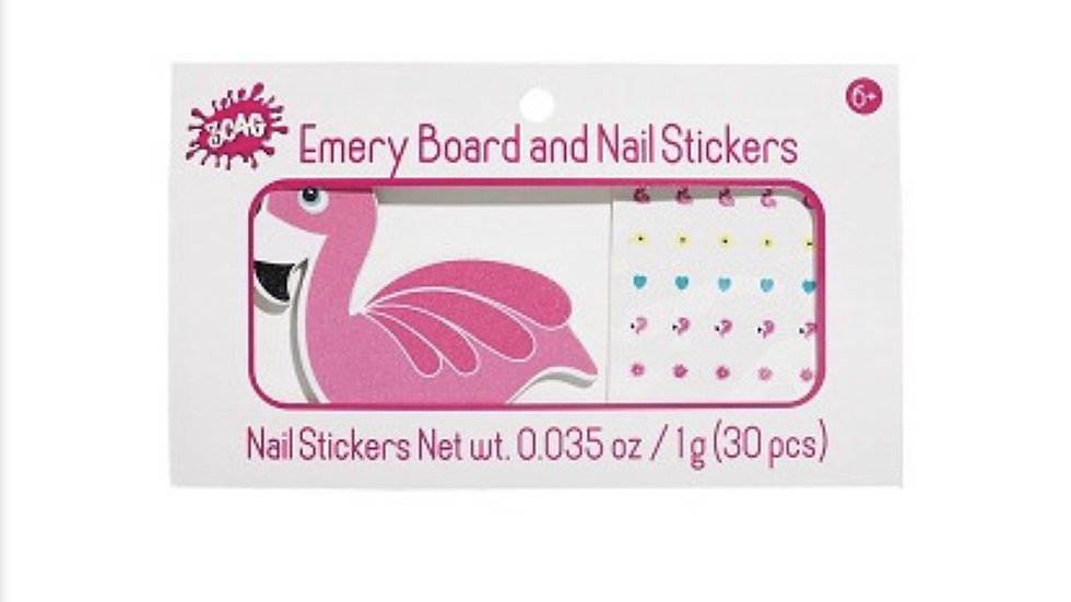 Flamingo Emery Board & Nail Stickers