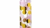 Pink/gold confetti water bottle