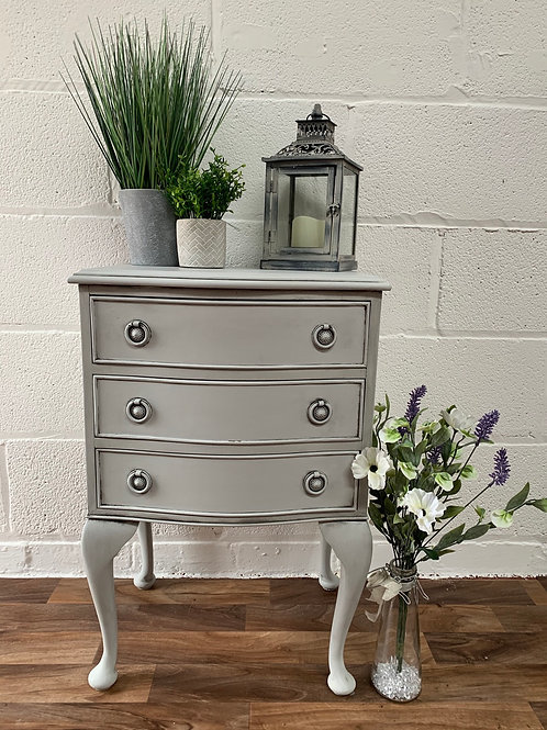 French style grey painted bedside drawers fusion mineral